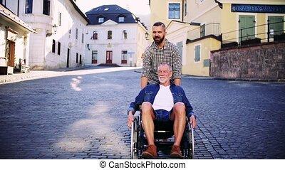 town., fauteuil roulant, père, promenade, adulte, petit, personne agee, fils