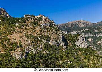 Town Gourdon in Provence France - travel and architecture background