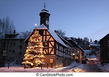 Old City Hall of Engenhahn in the Taunus with Christmas tree
