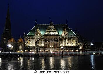 Town hall at night, Bremen, Gemany