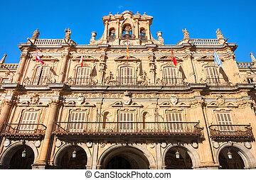 Town hall at Plaza Mayor in Salamanca, Castilla y Leon, Spain