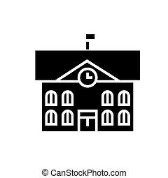 town hall - city hall icon, vector illustration, black sign...
