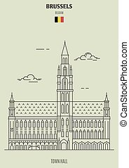 Town Hall in Brussels, Belgium. Landmark icon
