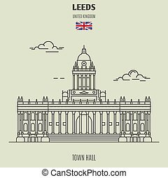 Town Hall in Leeds, UK. Landmark icon in linear style