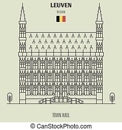 Town Hall in Leuven, Belgium. Landmark icon in linear style