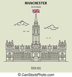 Town Hall in Manchester, UK. Landmark icon in linear style