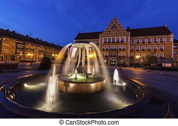 Town Hall (Mestsky Urad) on Main Square in Cesky Tesin. Cesky Tesin, Moravian-Silesian Region, Czech Republic.