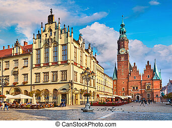Town hall on market square in Wroclaw