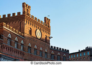 Town Hall on Piazza del Campo Square in Siena