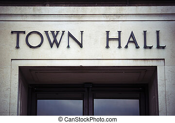 Town hall sign at local government office