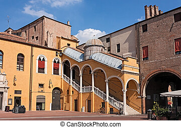 Town Hall Square in Ferrara, Italy, with the historic...