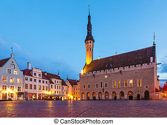 Town Hall Square in Tallinn, Estonia - Evening summer...
