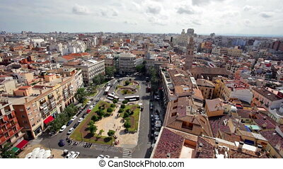 Town hall square of Valencia in sunny day, Spain