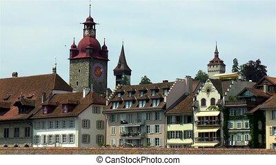 Town Hall tower in Luzern, Lucerne, Switzerland.