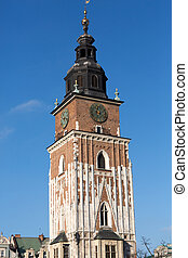 Town hall tower on main square of Cracow