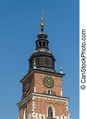Town hall tower on main square of Krakow