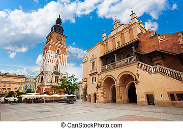 Town Hall Tower (Wieza ratuszowa w Krakowie) and Cloth Hall on Rynek Glowny (main square) in Krakow, Poland