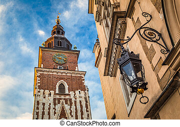 Town Hall Tower on the main market square in Krakow town, Poland.