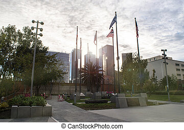 Town hall view with flags in LA downtown in USA