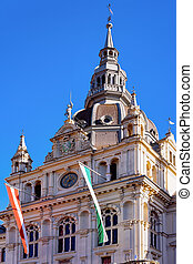 Town Hall with flags on Hauptplatz square in Graz