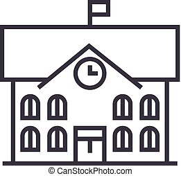 town hall,city hall vector line icon, sign, illustration on...