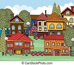 Town - Hand drawn houses, green lawns, trees and garden...