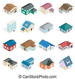 Town house cottage set, isometric 3d style