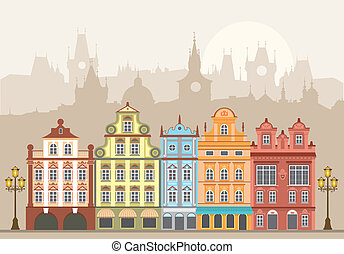 Town houses - Street with houses in different architectural...