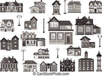 Town Houses - Set of flat town houses and buildings,...