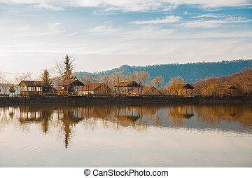 Town houses on the bank of a lake
