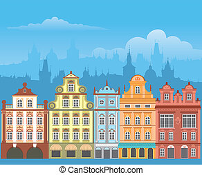 Street with houses in different architectural styles and colours. Detailed vector picture.