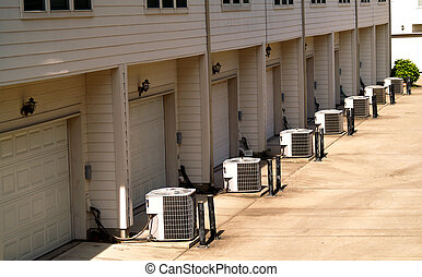 town houses with AC - Row of town houses with air...