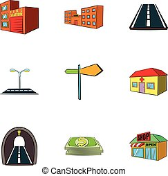 Town icons set, cartoon style