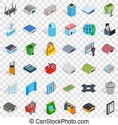 Town icons set, isometric style