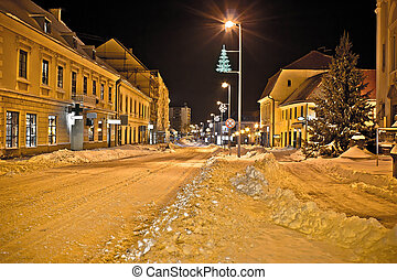 Town in deep snow on Christmas