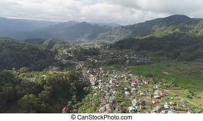 Town in mountain province. Sagada, Philippines. - Aerial...