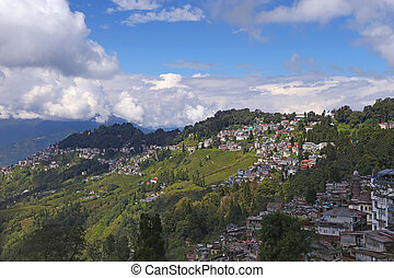 Town in mountains - Cityscape of Darjeeling, West Bengal,...