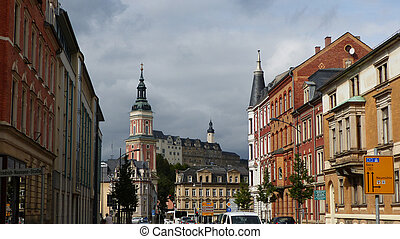 Town in Thuringia, Germany, views of the town church, the...