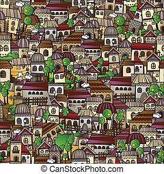 town., karikatur, erzählung, vektor, fee, zeichnung