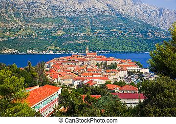 Town Korcula in Croatia - travel background