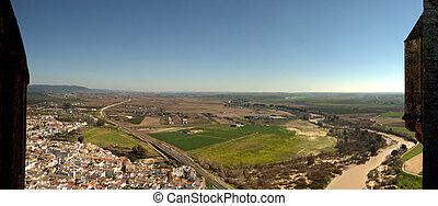 Town landscape between battlements