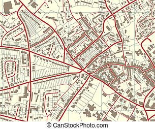 Town map - Illustration of a detailed generic street map...