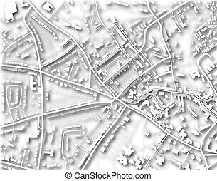 Town map - Illustration of a detailed generic street map ...