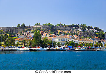 Town Nafplion and castle, Greece - travel background