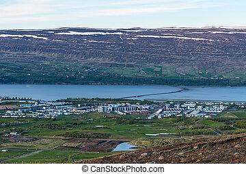 Town of Akureyri in Iceland