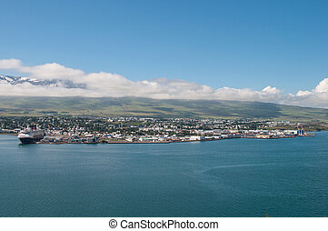 Town of Akureyri in north Iceland