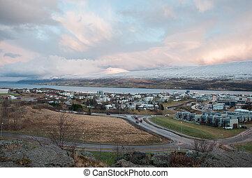 Town of Akureyri in Northern Iceland
