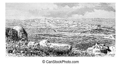 Town of Beitin in West Bank, Israel, vintage engraving -...