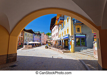 Town of Berchtesgaden colorful street and historic architecture view