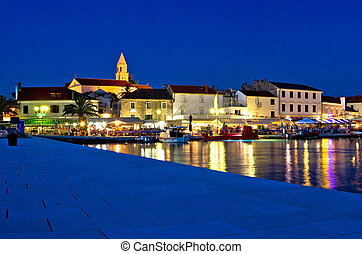 Town of Biograd evening view at blue hour